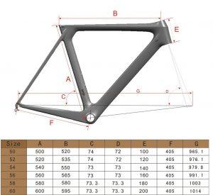 ICANロードバイク 寸法表